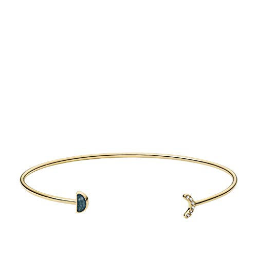 (Fossil Women's Jade Gold-Tone Cuff Bracelet, One Size)