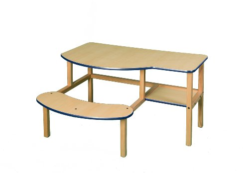 Wild Zoo Furniture Childs Wooden Computer Desk for 1 to 2 Kids, Ages 2 to 5, Maple/Blue - Grade School Computer Desk