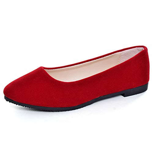 Stunner Women Cute Slip-On Ballet Shoes Soft Solid Classic Pointed Toe Flats Red 41