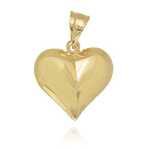 JewelStop 14k Yellow Gold Puffed Heart Love Charm Pendant (Necklace Pendant Heart Gold)