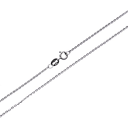 Free 16' Chain - Sterling Silver Gliding Rolo Cable Chain Necklace 16''-24'' (1mm Width 40cm (16 inches))