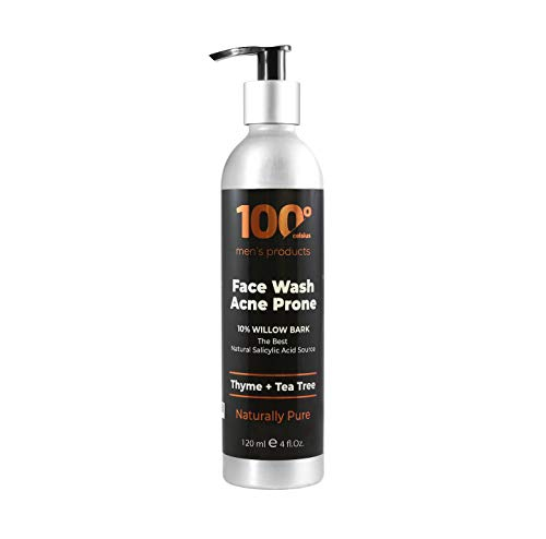 Mens Face Wash Acne Prone-Visible Results As Fast As 12 Hours-Acne Treatment w/10% Willow Bark-Natural Salicylic Acid Source-100% Organic Extracts Thyme And Tea Tree-Better Than Benzoyl Peroxide.
