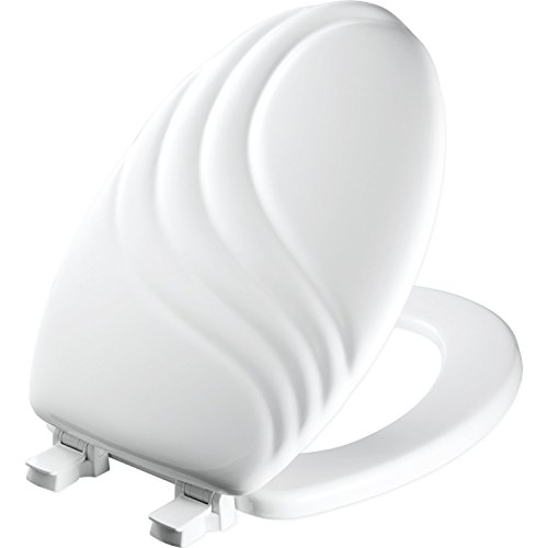 MAYFAIR Sculptured Swirl Toilet Seat will Never Loosen and Easily Remove, ELONGATED, Durable Enameled Wood, White, 127ECA 000