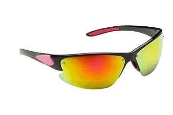 d64a9ea32d Sunglasses - Men s Black   Red Wrap Around Sunglasses with Reflective  Polycarbonate Shatterproof Lenses - Men s