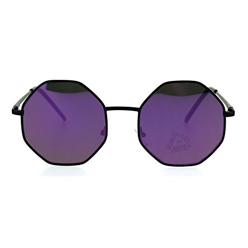 Retro Hippie Octagon Groovy Color Mirror Metal Sunglasses Black - Octagon Sunglasses