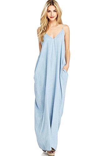 Love Stitch Women's Long Flowy Chambray Maxi Dress (M/L, Light (Love Stitch)