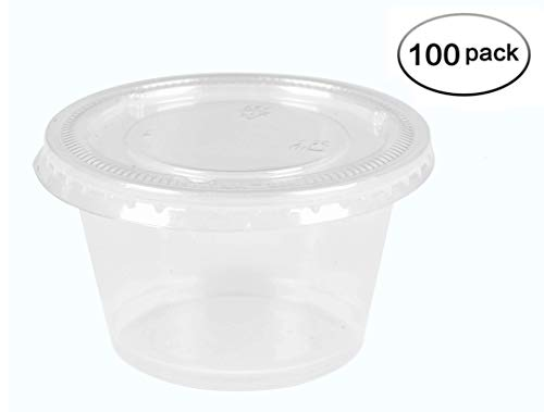 Luckypack Jello Shot Cups with Lids 100 Count Small Plastic Containers with Lids,Condiment Containers, 5.5-Ounce (Packs of 100 Cups-100 Lids)]()