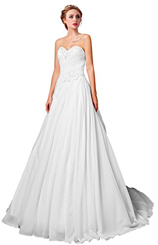 Wedding Gown Train Chiffon - Sing Love Sweetheart Chiffon Crystal Lace Train Wedding Dresses(White/pure-white,US22W)