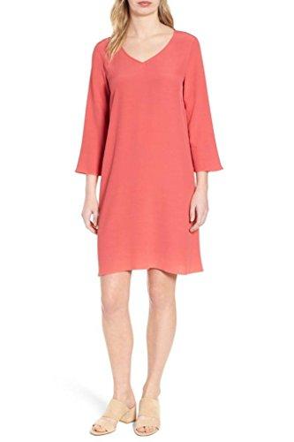 Eileen Fisher V-Neck Tencel Viscose Crepe Shift Dress in Mimosa
