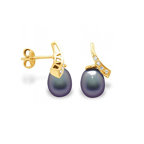 Boucles d'Oreilles Perles de Culture Noires, Diamants et Or Jaune 750/1000 -Blue Pearls-BPS K362 W