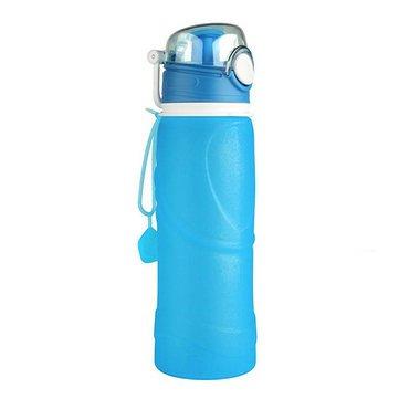 Disumos 折りたたみ式シリコンウォーターボトル 750ml 折りたたみ可能 シリコンウォーターボトル スポーツ キャンプ ハイキング 折りたたみ式 BPAフリーカップ B07GJNJHLV ブルー