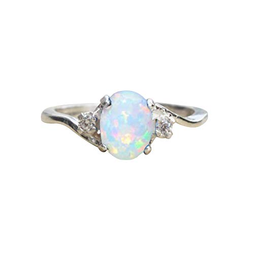 856store The Latest Fashion Exquisite Opal Alloy Charm Ring Women Bride Wedding Engagement Jewelry White US ()