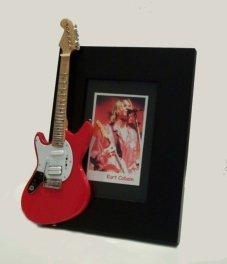 Nirvana Red Guitar - KURT COBAIN Miniature Guitar Photo Frame Jagstang Red Nirvana