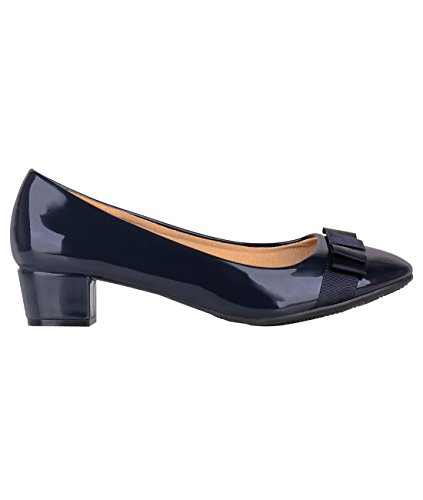 Krisp 4241-NVY-4: Low Heel Patent Bow Pumps Navy