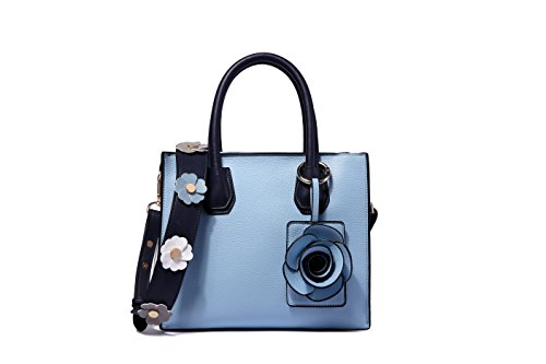 Ruiatoo Top Handle Handbag Flower Portable Satchel Tote Purse Shoulder Crossbody Bags Blu