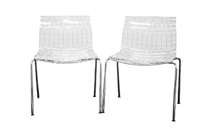 Baxton Studio Obbligato Transparent Clear Acrylic Accent Chair, Set Of 2