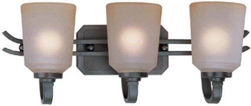 Lite Source LS-16743 Rupert 3-Lite Wall Lamp, Aged Copper with Light Amber Glass Shade by Lite Source