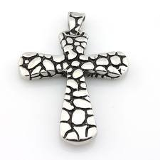 Stainless Steel Cobblestone Silver Cross Pendant Necklace