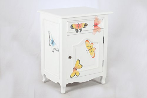 NES Furniture amz10172 Nes Fine Handcrafted Sophie Butterfly Solid Mahogany Wood Bedside Cabinet/End Table, 28-Inch, White by NES Furniture