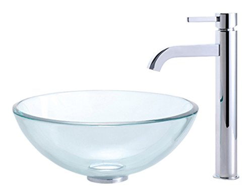 クリアガラス容器シンクand Ramus蛇口 C-GV-101-14-12mm-1007CH 1 B003CVNO0M  クロム
