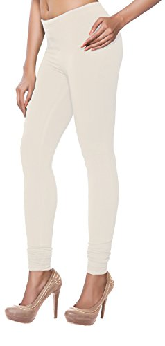 In-Sattva Women's Indian Cotton Churidaar Leggings - Solid; Off-White; XL
