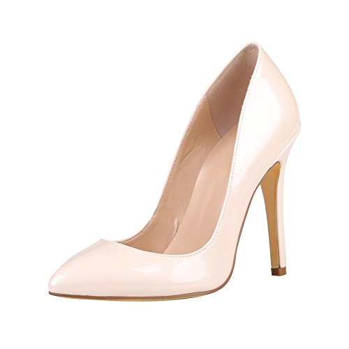 Toe Court Patent Pumps Heel On Beige Solid 100mm Slip Shoes High Kolnoo Pointed Women's wHCq1wSU