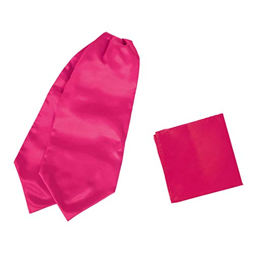 Dan Smith C.C.AQ.H.018 Medium Violet Red Solid Cravat Handmade Satin Ascot Tie Matching Pocket Square Extra Long Size