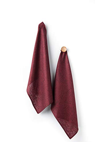 Solino Home Linen Kitchen Towel - 100% Pure Linen 17 x 26 Inch Set of 2 - Natural Fabric Handcrafted, Red Garnet