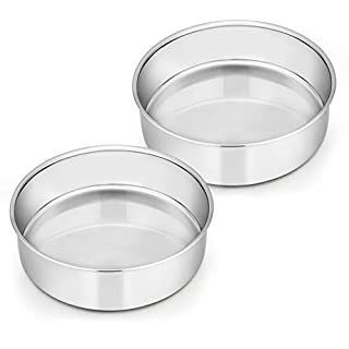 6 Inch Cake Pan Set of 2, E-far Stainless Steel Round Smash Cake Baking Pans, Non-Toxic & Healthy, Mirror Finish & Dishwasher Safe