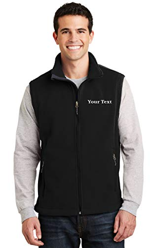 Custom Embroidered Mens Fleece Vest - Embroidery Zip Up Sleeveless Jacket for Men Black]()