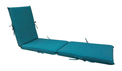 Bossima Indoor/Outdoor Teal Blue Chaise Lounge Cushion,Spring/Summer Seasonal Replacement Cushions (Lounge Cheap Chaise Cushions)