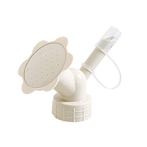 aug-ust Kids Sprinkler 2 in 1 Plastic Safe Nozzle Flower Bottle Watering Cans Easter Gift Functional Shower Head Garden Tool (Beige)