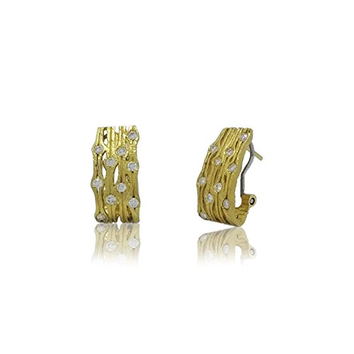 14k yellow gold 0.60 carats artisan earrings with ()