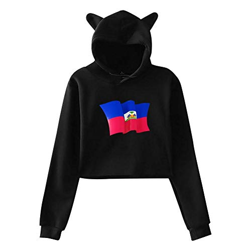 (Ladies' Exposed Umbilical Short-Sleeved T-Shirt Haitian Flag Hoodies Sweatshirt Cat Ear Crop Tops Pullover L Black)