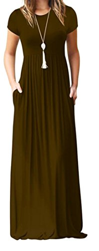 Round Solid Pleated Dress Sleeve Coffee Short Womens Neck Casual Maxi Cruiize YEqUpwn