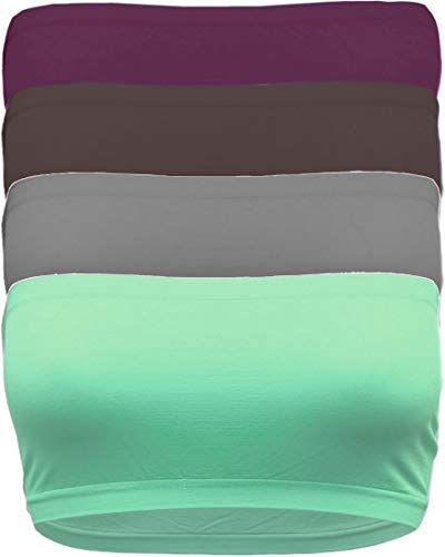 TL Women's 4 Pack One Size Strapless Seamless Active Base Layer Bandeau Tube Top