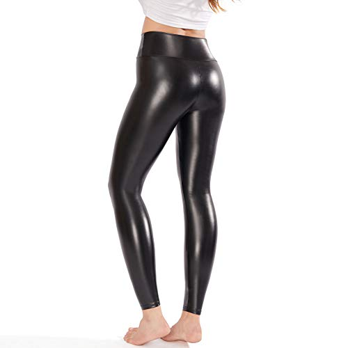 Ginasy Black Leather Like Leggings Pants, Stretchy High Waisted Tights for Women Girls, for Her
