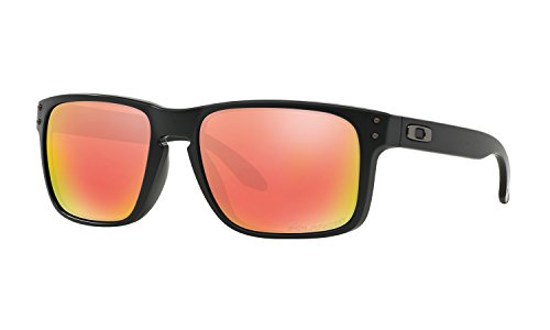 Oakley mens Holbrook OO9102-51 Iridium Polarized Sport Sunglasses,Matte Black/Ruby,55 - Oakley Iridium