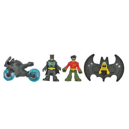 Fisher Price Imaginext Super Friends Batman Batcave Batman, Robin, Motorcycle, and Flight Suit ()
