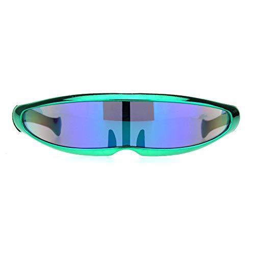 Mirror Lens Monolens Cyclops Robotic Futuristic Sunglasses Metallic Green