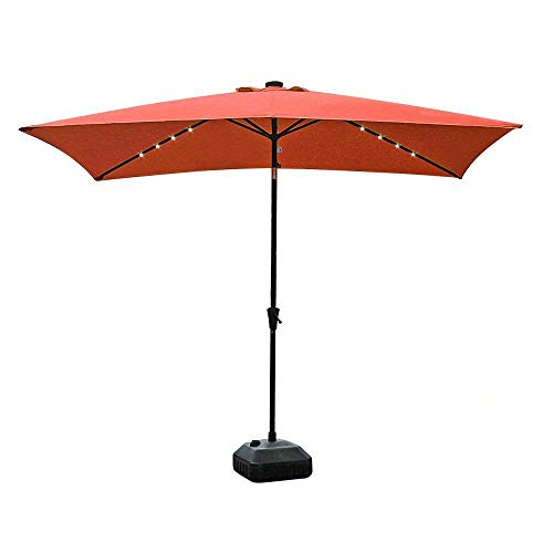COBANA 9.8' by 6.6' 22 Solar Powered LED Lighted Outdoor Table Umbrella Aluminum Patio Umbrella,Brick Red by COBANA