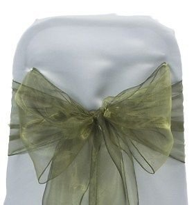mds Pack of 100 organza chair sash bow sashes For wedding and Events Supplies Party Decoration chair cover sash -Olive green