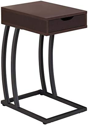 Coaster Industrial Accent Table with Storage Drawer and Outlet, Cappuccino