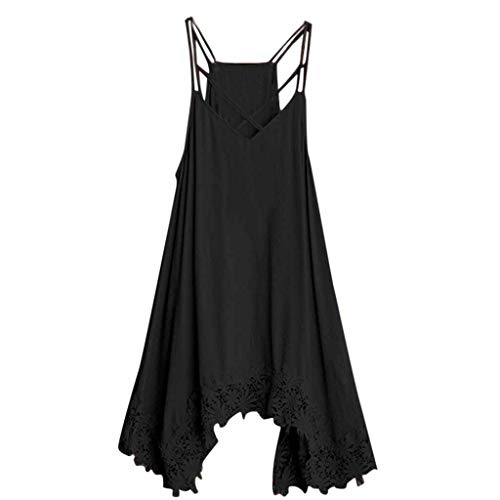 Aniywn Womens V-Neck Spaghetti Strap Sleeveless Backless Lace Mini Swing Dress Loose Pure Color Dresses Black