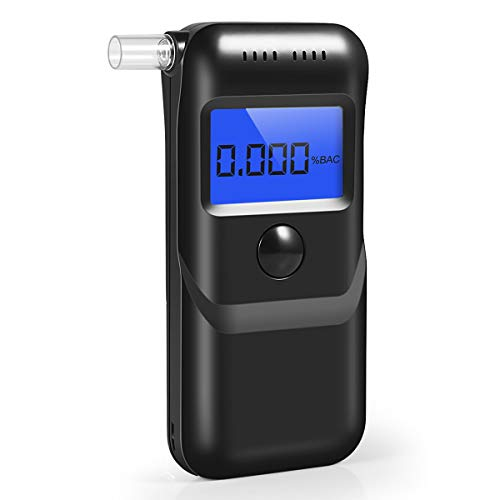 Breathalyzer, New Upgraded Portable Breath Alcohol Tester LED Screen, Digital Battery Power Alcohol Detector with 5 Mouthpieces for Home Party Use - New Digital Alcohol