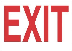 7''x10'' Red on White Plastic Exit Agent Safety Sign
