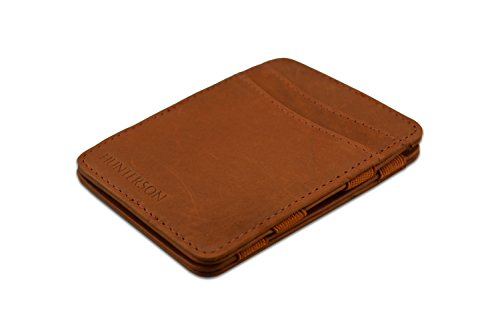 Hunterson Ultra Slim Leather Handmade Magic Wallet (Cognac)