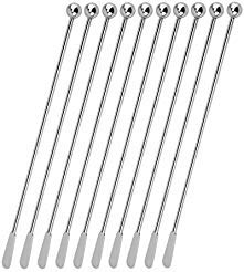 Stainless Steel Coffee Beverage Stirrers Stir Cocktail Drink Swizzle Stick with Small Rectangular Paddles-10 -