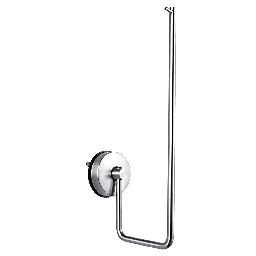 YOHOM Vacuum Suction Cup Kitchen Paper Towel Holder with Hook Wall Mount Bathroom Towel Ring Holder Stainless Steel, Brushed Finish