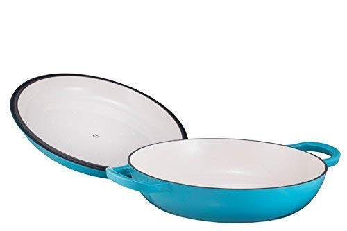Enameled Cast Iron Casserole Braiser - Pan with Cover, 3.8-Quart, Marine Blue by Bruntmor (Image #5)